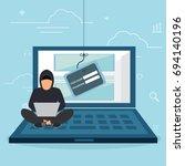 hacking phishing attack. flat...   Shutterstock .eps vector #694140196