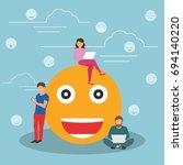 young men and women standing... | Shutterstock .eps vector #694140220