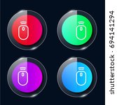 mouse four color glass button...