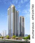 3d render building landscape | Shutterstock . vector #694144780