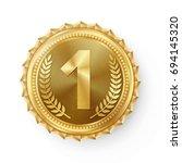 gold medal vector. round... | Shutterstock .eps vector #694145320