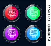 camera four color glass button... | Shutterstock .eps vector #694149838