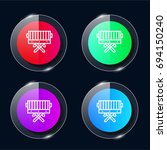bbq four color glass button ui...