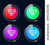 bbq four color glass button ui...