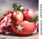 rustic christmas background... | Shutterstock . vector #694155334