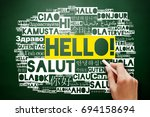 hello word cloud in different... | Shutterstock . vector #694158694