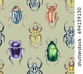 beetle background. seamless... | Shutterstock . vector #694159150