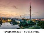 sunset in munich olympiapark  ... | Shutterstock . vector #694164988
