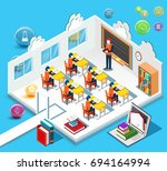 pupils study in the classroom.... | Shutterstock . vector #694164994