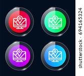 gps four color glass button ui...