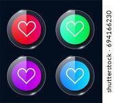 heart four color glass button...