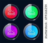 sunset four color glass button...