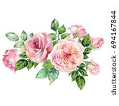 watercolor bouquet with pink... | Shutterstock . vector #694167844