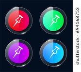 pushpin four color glass button ...