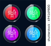 family four color glass button...