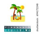 man in hammock as beach concept ... | Shutterstock .eps vector #694172248