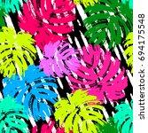 palm leaves summer funky... | Shutterstock .eps vector #694175548