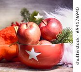 rustic christmas background... | Shutterstock . vector #694176940