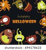 happy helloween with cute... | Shutterstock .eps vector #694178623