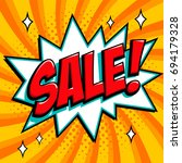 orange sale web banner. pop art ... | Shutterstock .eps vector #694179328