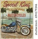 vintage california motorcycle...   Shutterstock . vector #694179346