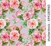 cute roses pattern.watercolor | Shutterstock . vector #694180960