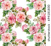 watercolor pattern with roses | Shutterstock . vector #694181830