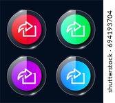 next four color glass button ui ...