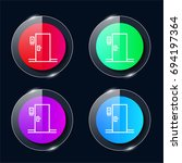 room four color glass button ui ...