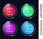 barrel four color glass button...