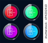 login four color glass button...