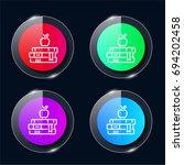 books four color glass button...