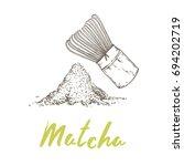 matcha  popular antioxidant... | Shutterstock .eps vector #694202719