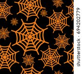orange halloween cobweb... | Shutterstock .eps vector #694202779