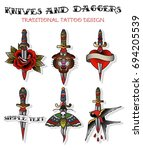 vector knives and daggers... | Shutterstock .eps vector #694205539