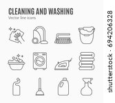 clean  wash line icons. washing ... | Shutterstock . vector #694206328
