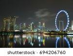 marina bay sands  singapore  ... | Shutterstock . vector #694206760