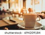 capuccino  mocha  latte...   Shutterstock . vector #694209184