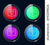 wifi four color glass button ui ...