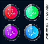 breath four color glass button...