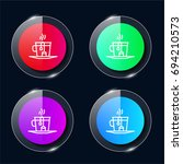 tea four color glass button ui...