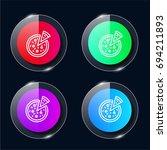 pizza four color glass button...