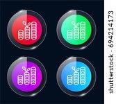 growth four color glass button...