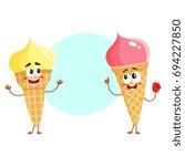 two funny ice cream cone...   Shutterstock .eps vector #694227850
