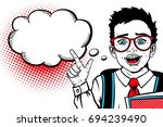 wow comic boy. cute surprised... | Shutterstock .eps vector #694239490