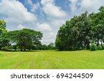 green trees in beautiful park... | Shutterstock . vector #694244509