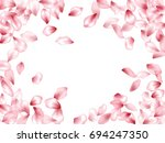 pink flower petal confetti... | Shutterstock .eps vector #694247350