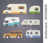 retro camper trailer collection....   Shutterstock . vector #694250650