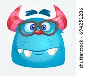 cartoon monster wearing glasses.... | Shutterstock .eps vector #694251286
