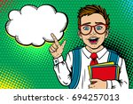 wow face. cute surprised school ... | Shutterstock .eps vector #694257013